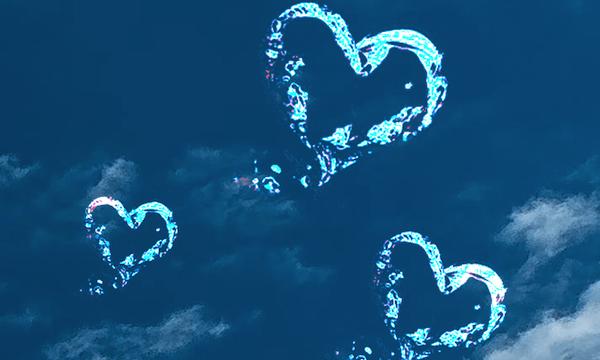 切ない恋をしている人におすすめの青空&ハートのおまじない画像